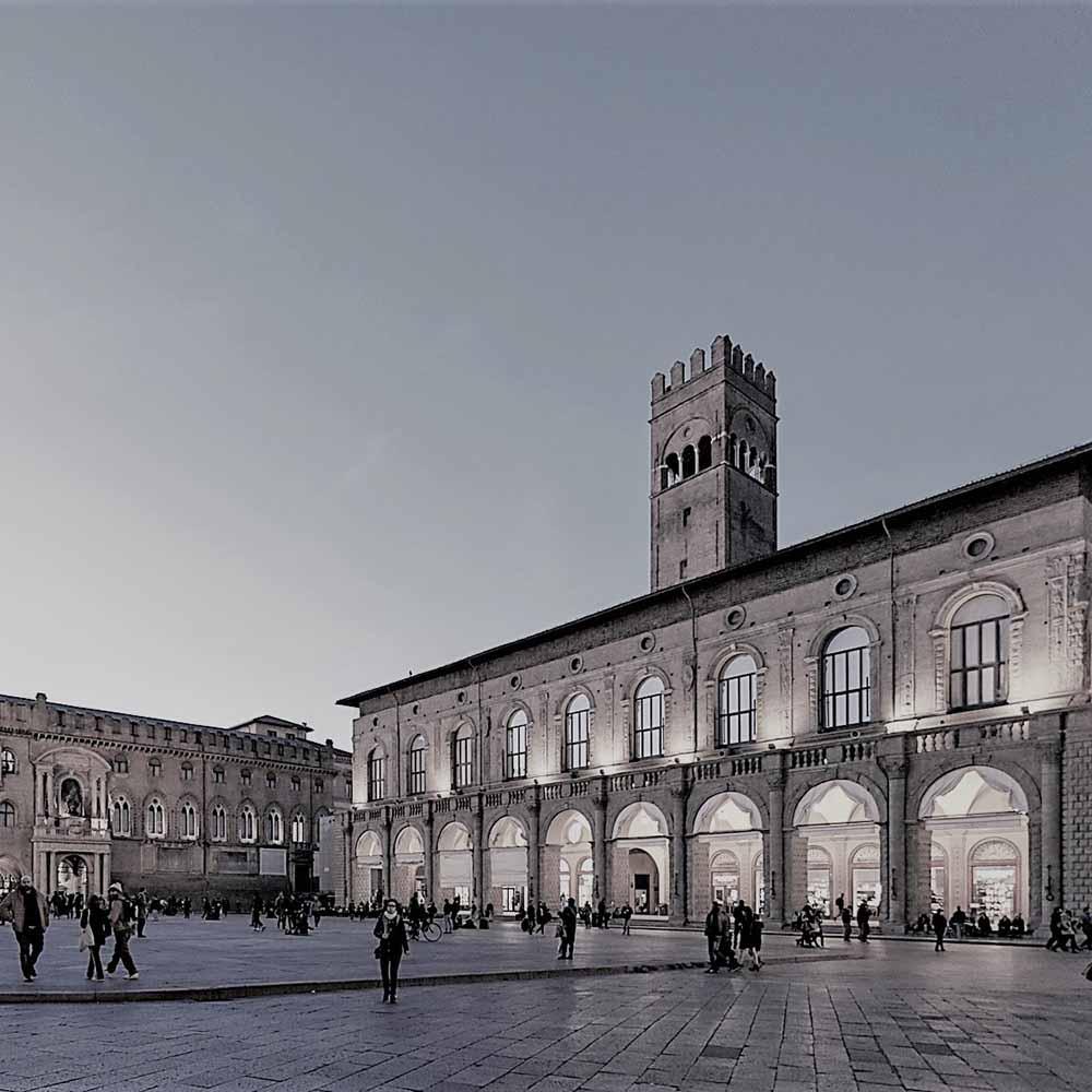 Piazza Maggiore at Dusk, Bologna, Italy